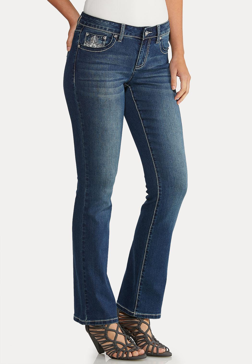 Petite Bootcut Bling Feather Jeans (Item #43942927)