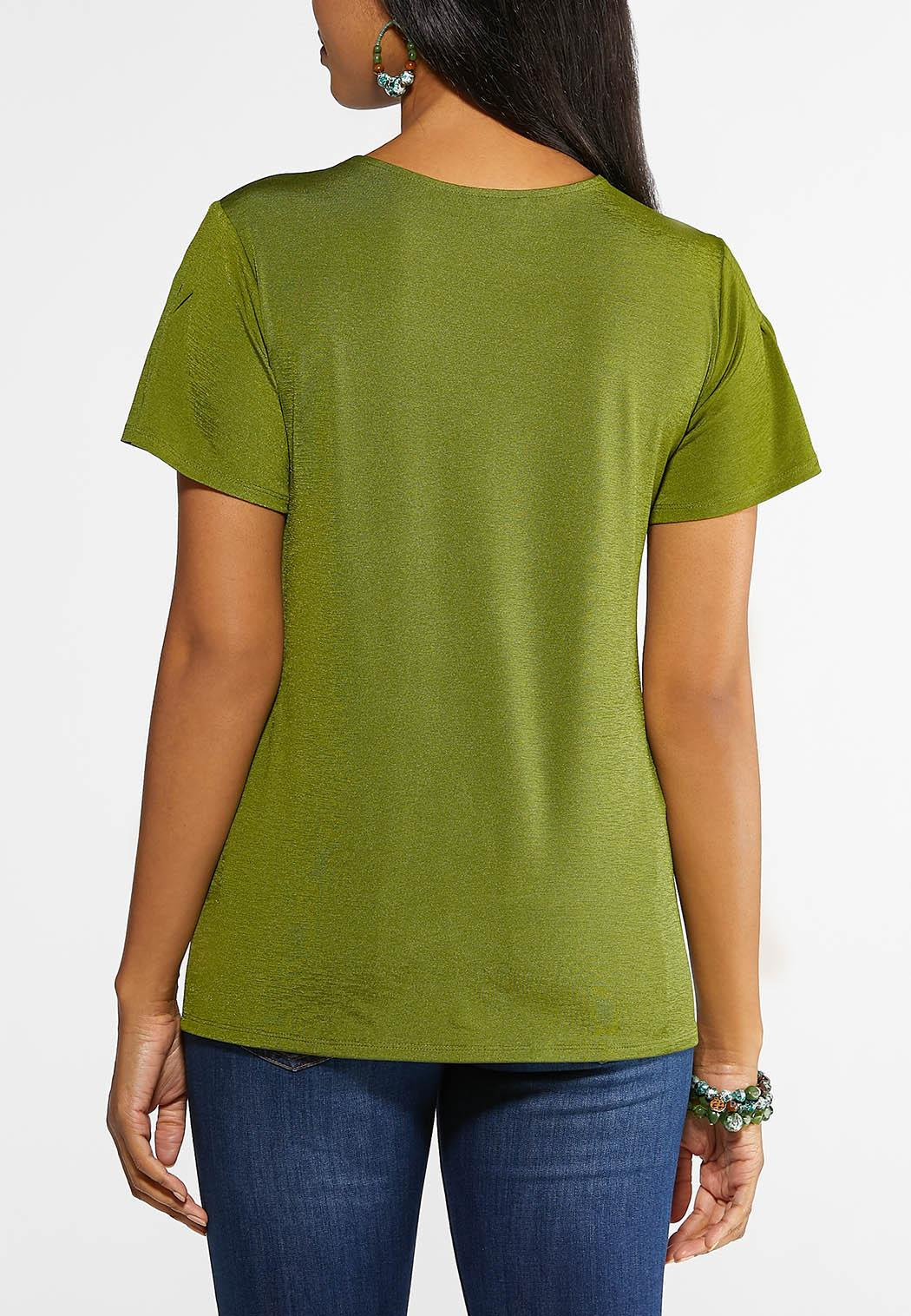 Pleated Flutter Sleeve Top (Item #43943426)