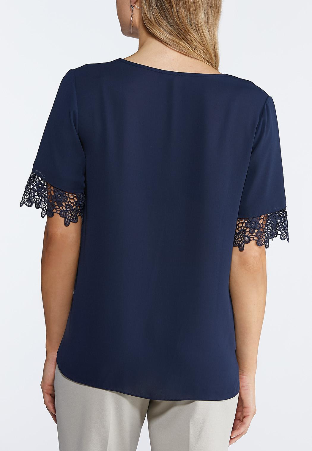 Lace Trim Woven Top (Item #43945806)