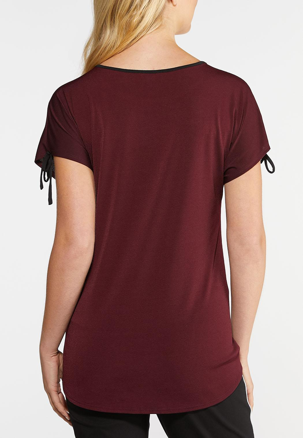 Plus Size Tie Sleeve Wine Top (Item #43945959)