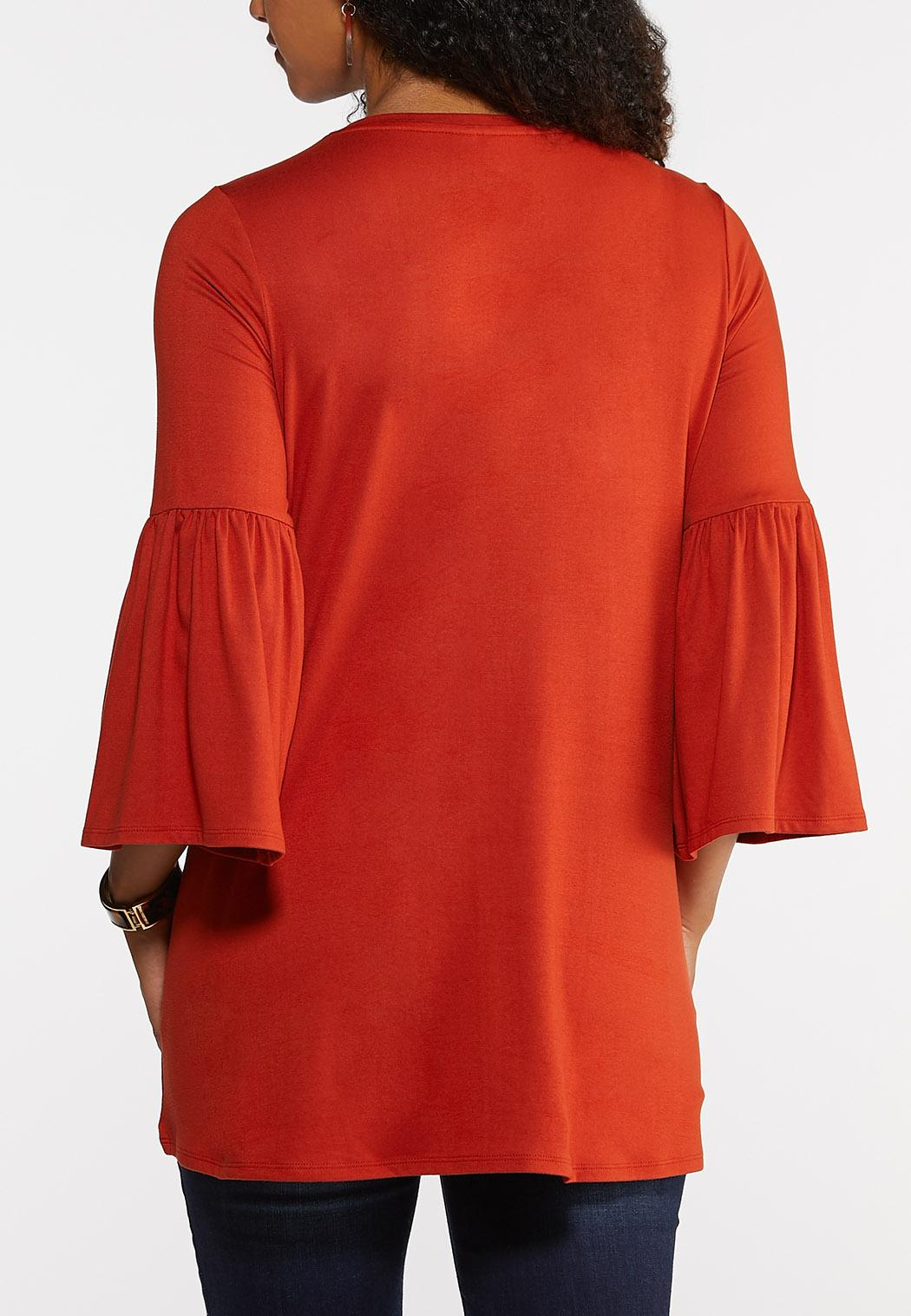 Plus Size Solid Bell Sleeve Top (Item #43947045)