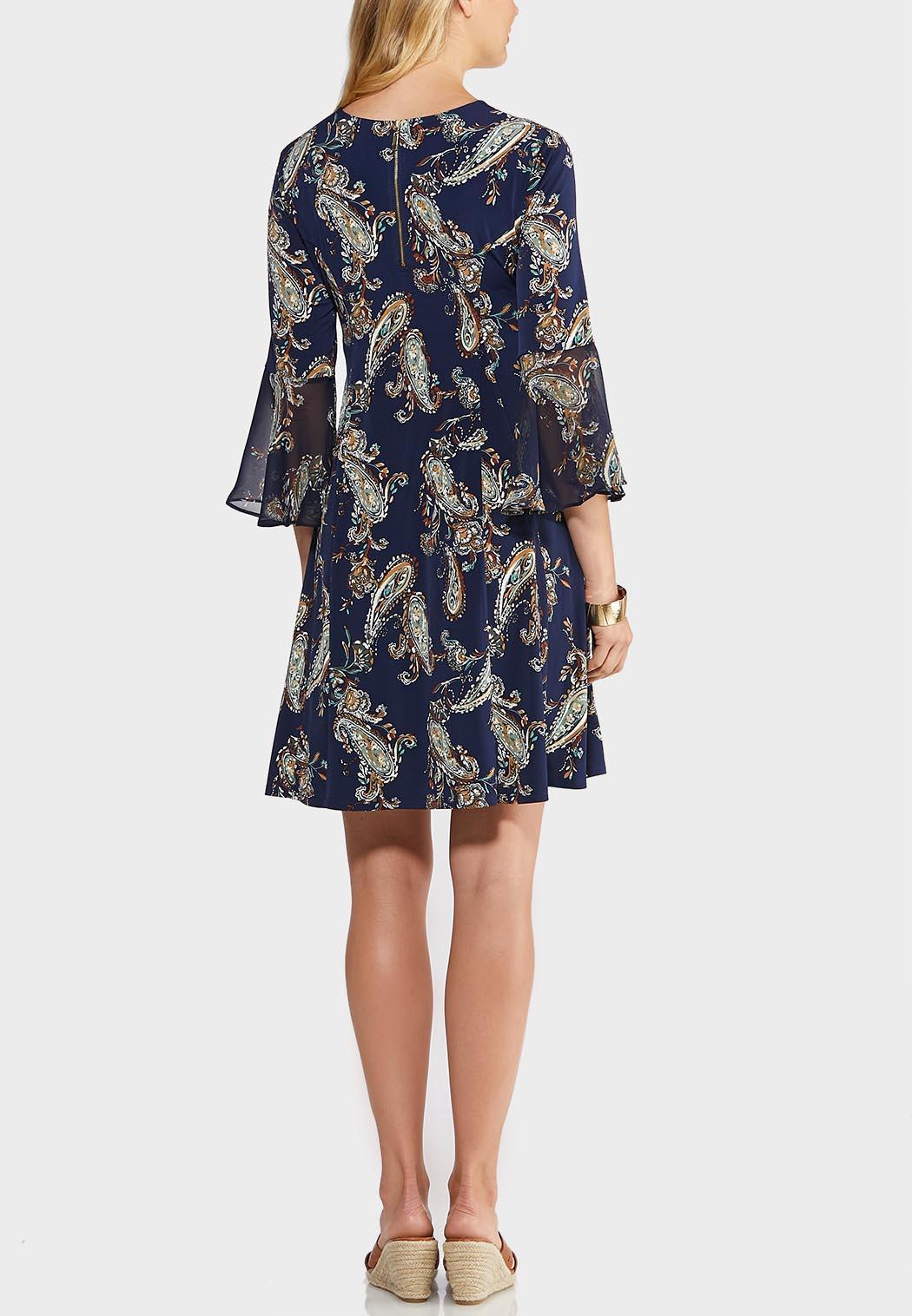 Plus Size Paisley Bell Sleeve Swing Dress (Item #43947580)