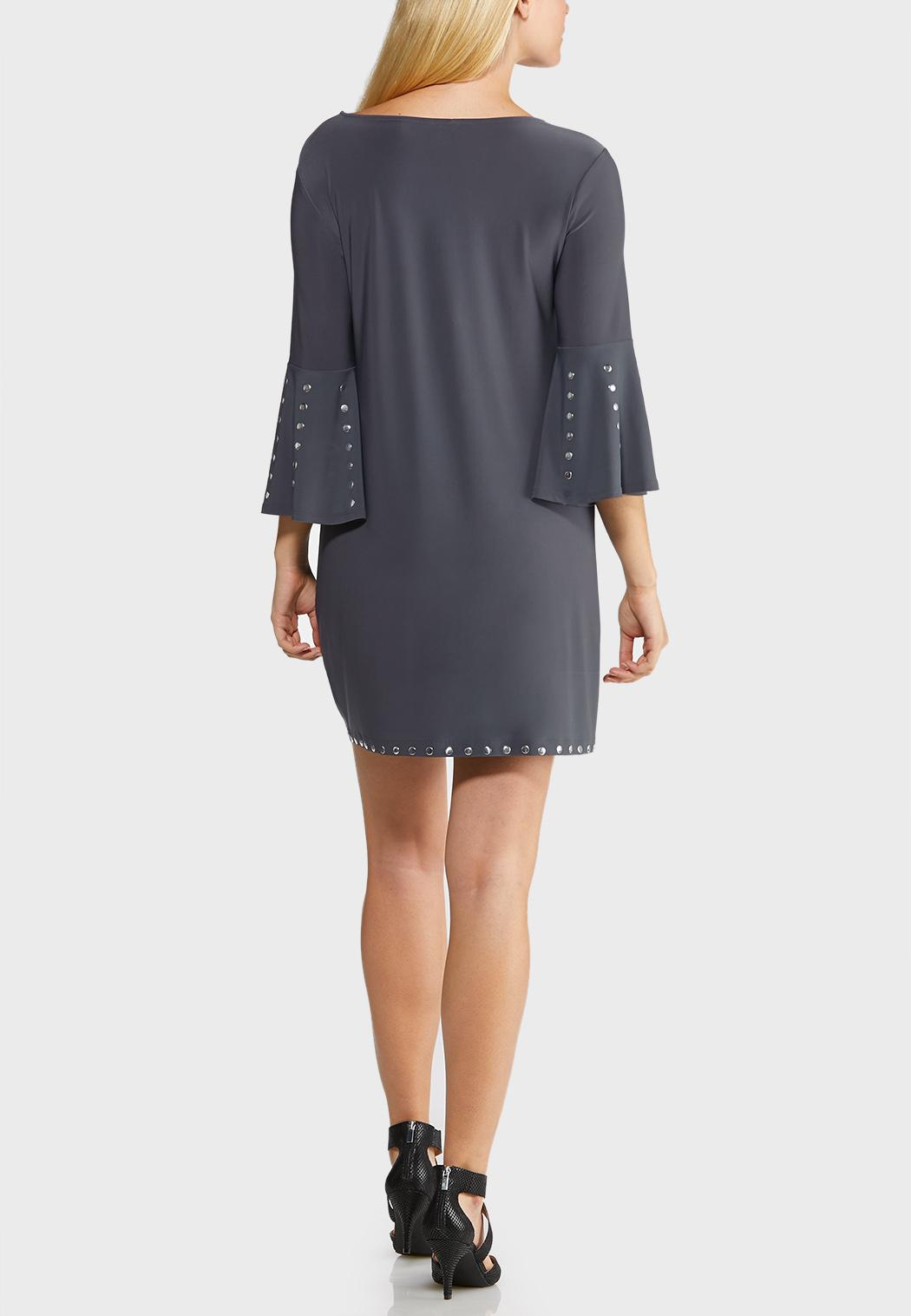 Plus Size Studded Shift Dress (Item #43947934)