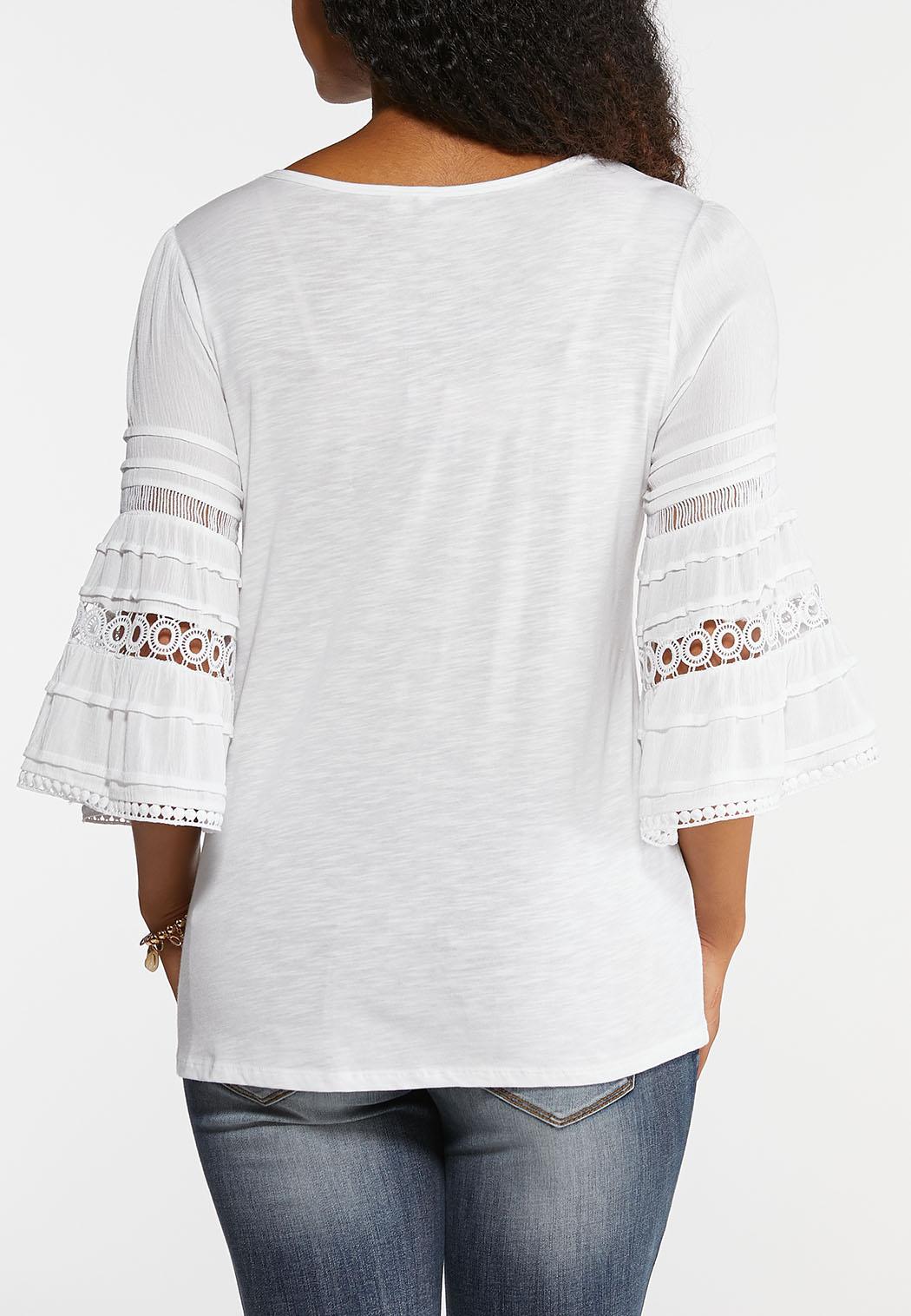 Plus Size Crochet Bell Sleeve Tee (Item #43948992)