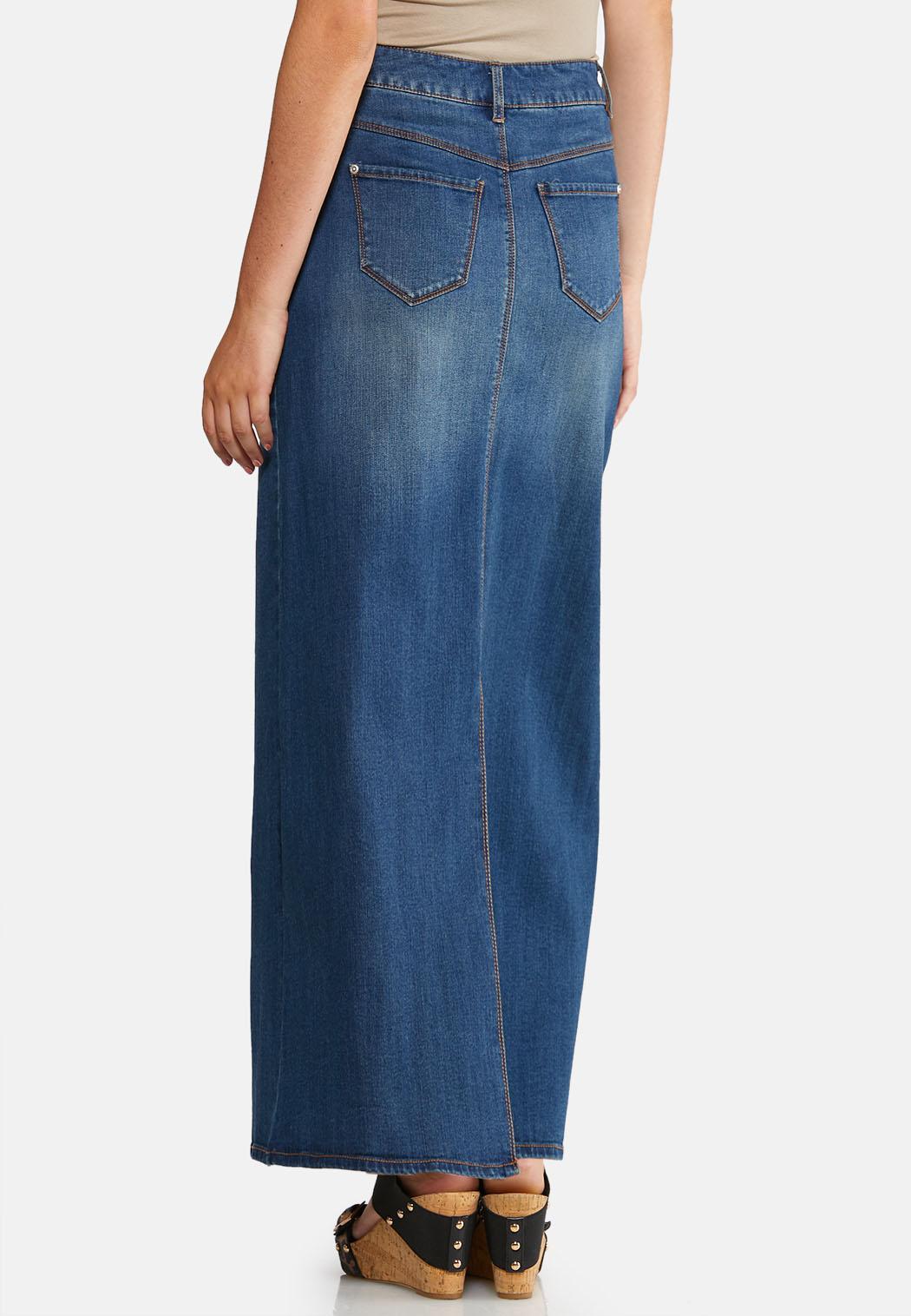 Plus Size Whiskered Denim Maxi Skirt Skirts Cato Fashions
