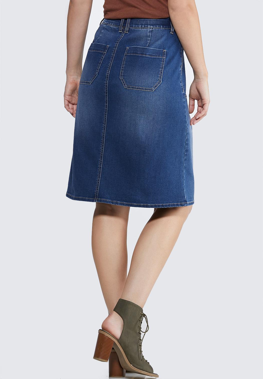 Plus Size Pocket Front Denim Skirt (Item #43950289)