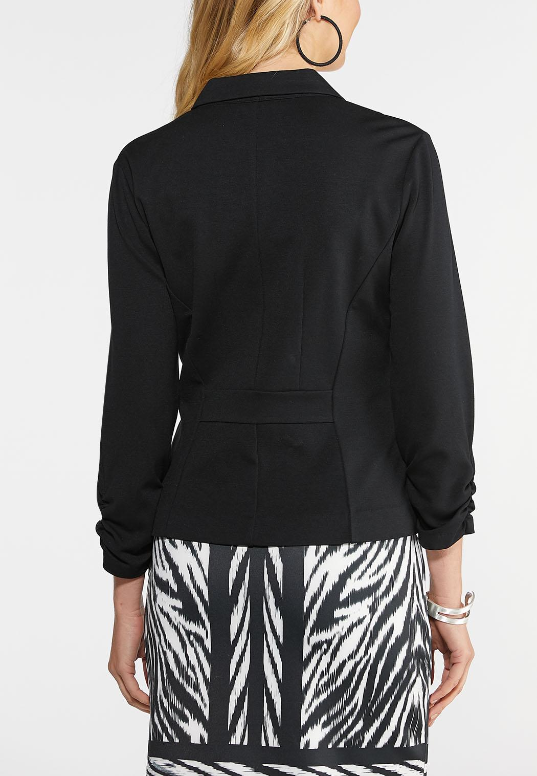 Plus Size Ruched Sleeve Ponte Blazer (Item #43954015)