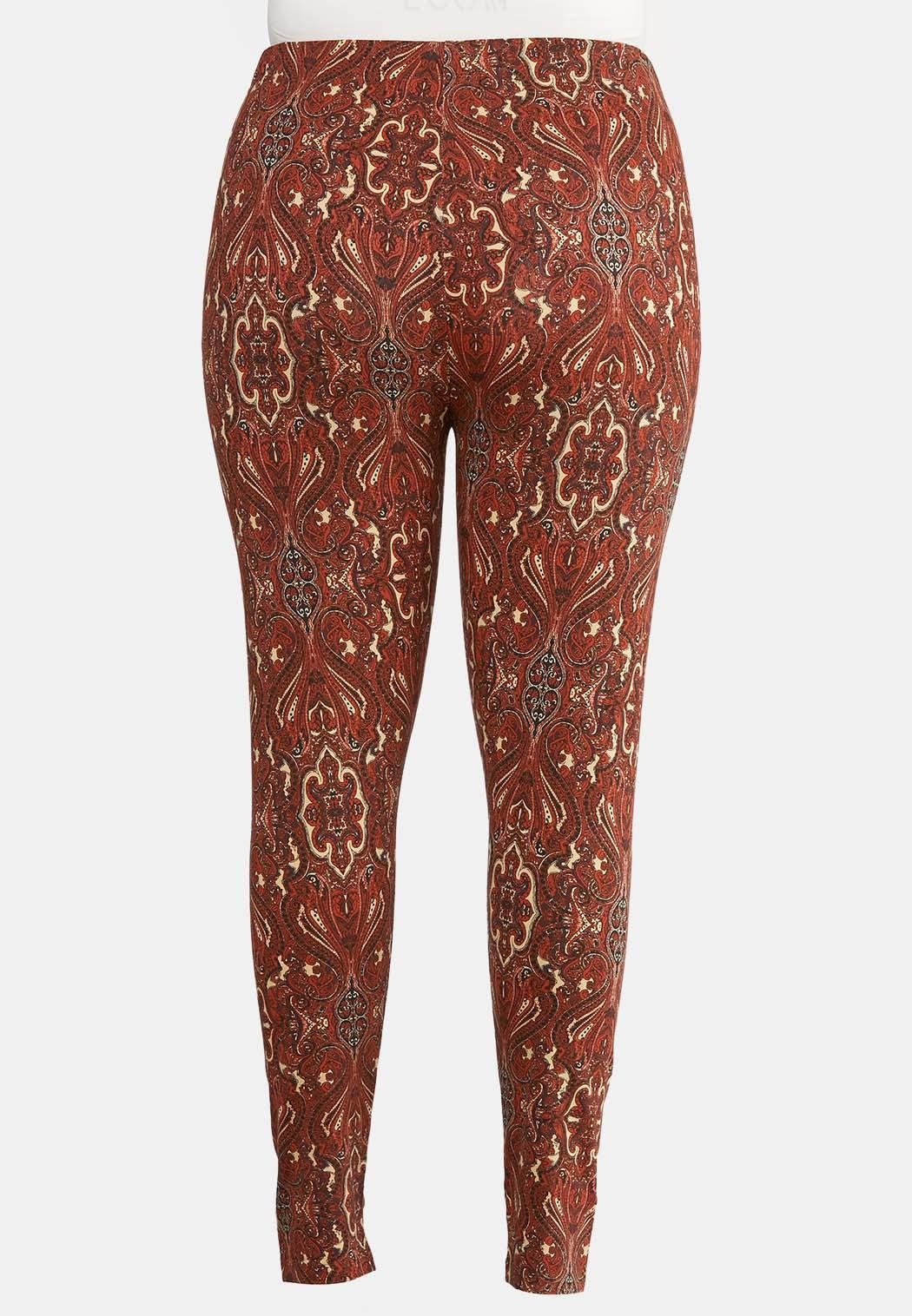 Plus Size Paisley Rust Leggings (Item #43954222)