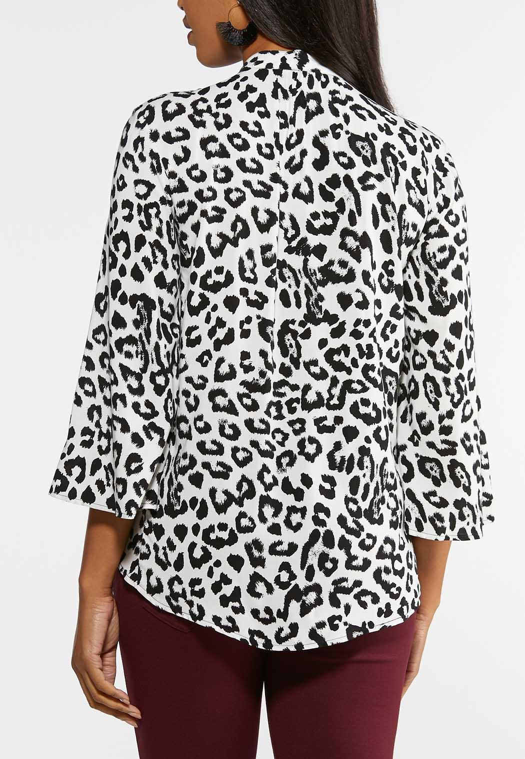 Plus Size Animal Print Tasseled Poet Top (Item #43954440)