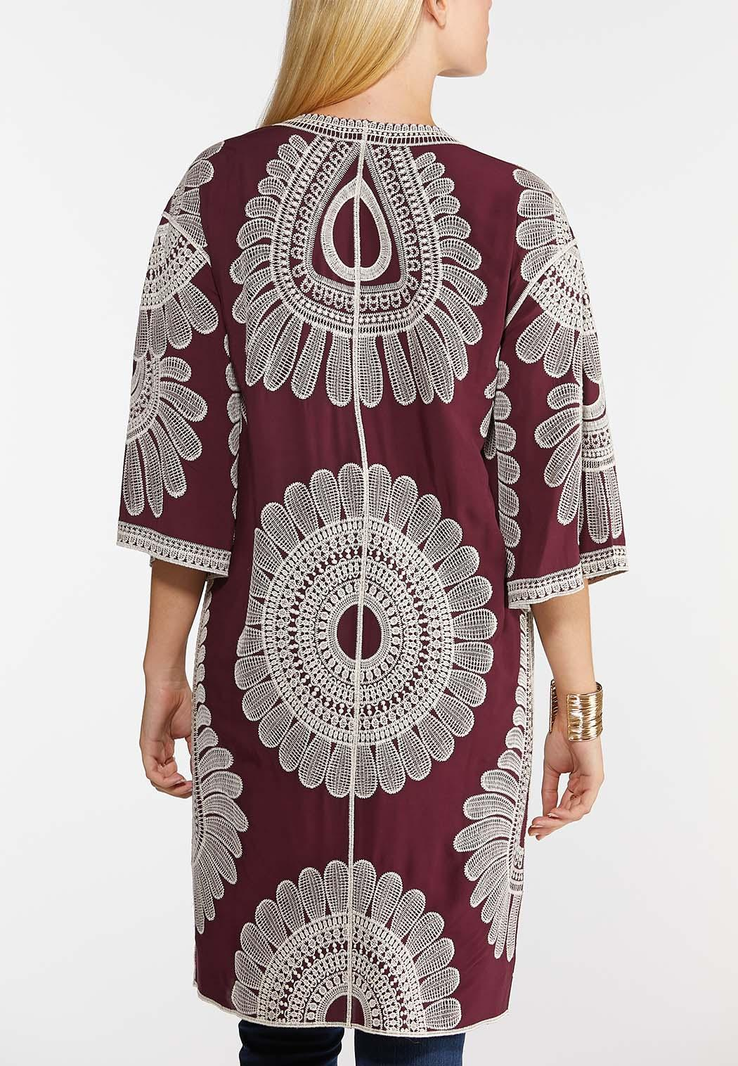 Plus Size Embroidered Wine Kimono (Item #43955112)