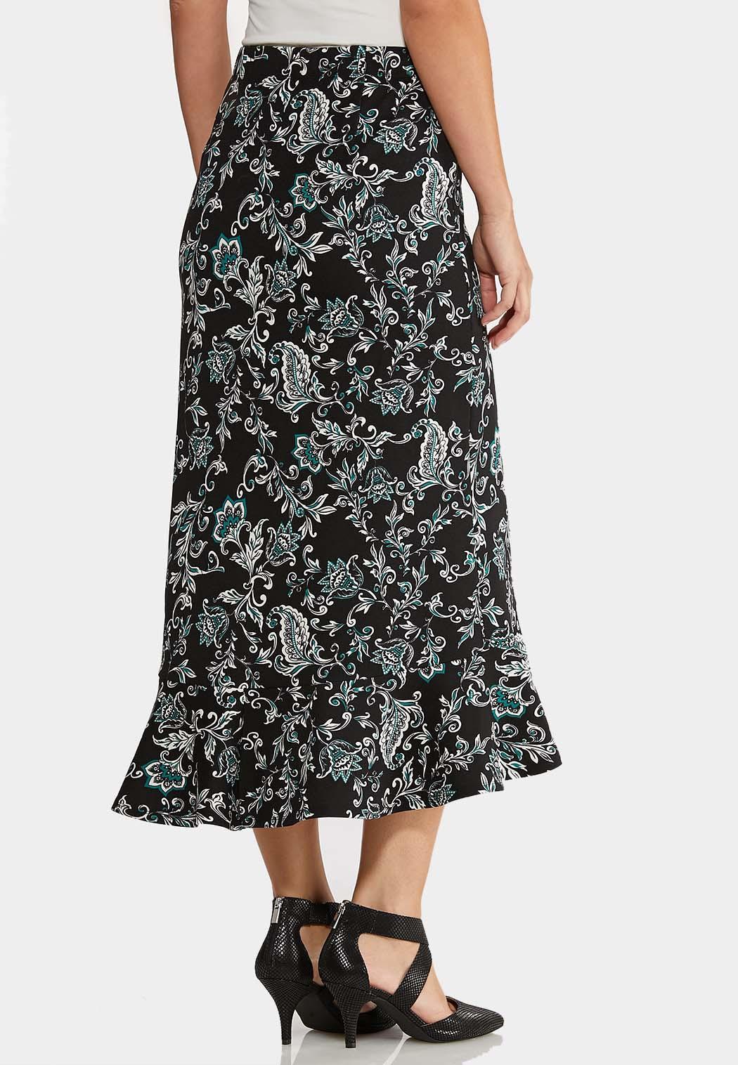 Plus Size Flounced Midi Skirt (Item #43955918)