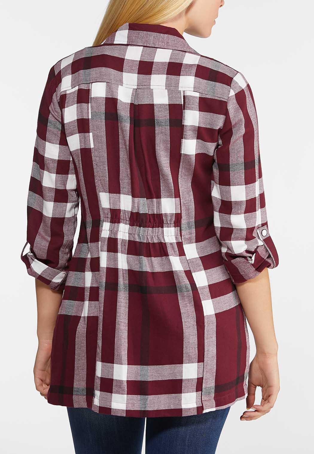 Plus Size Wine Plaid Jacket (Item #43956837)
