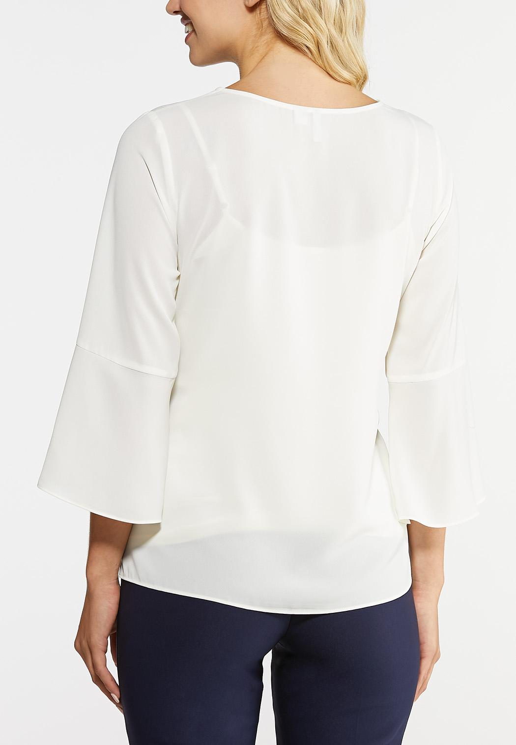 Plus Size Solid Tie Front Top (Item #43956952)