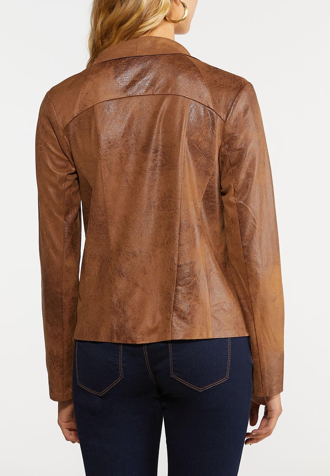 Draped Faux Leather Jacket (Item #43957049)