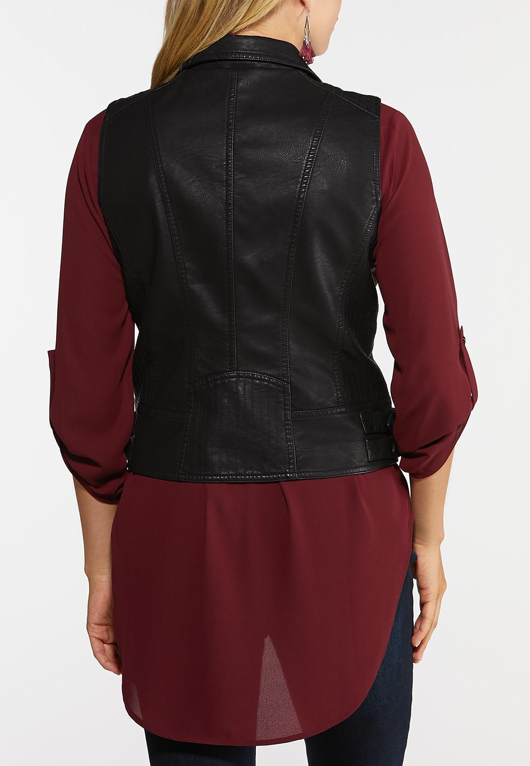 Plus Size Faux Leather Moto Vest (Item #43957518)