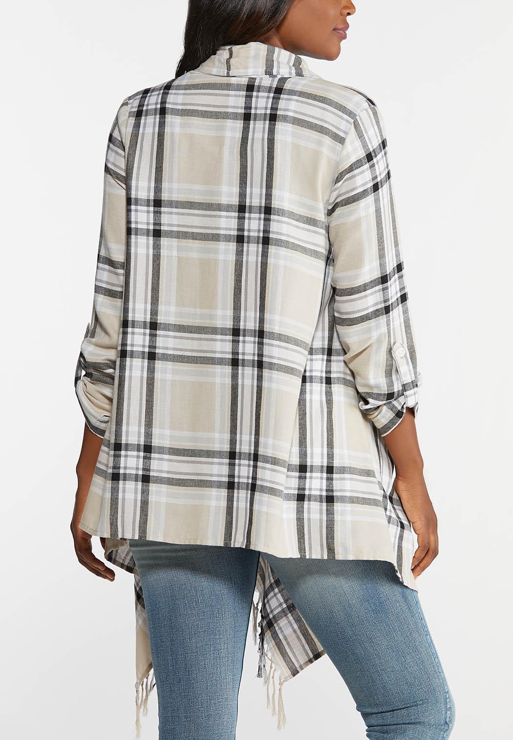 Plus Size Plaid Fringed Jacket (Item #43957866)
