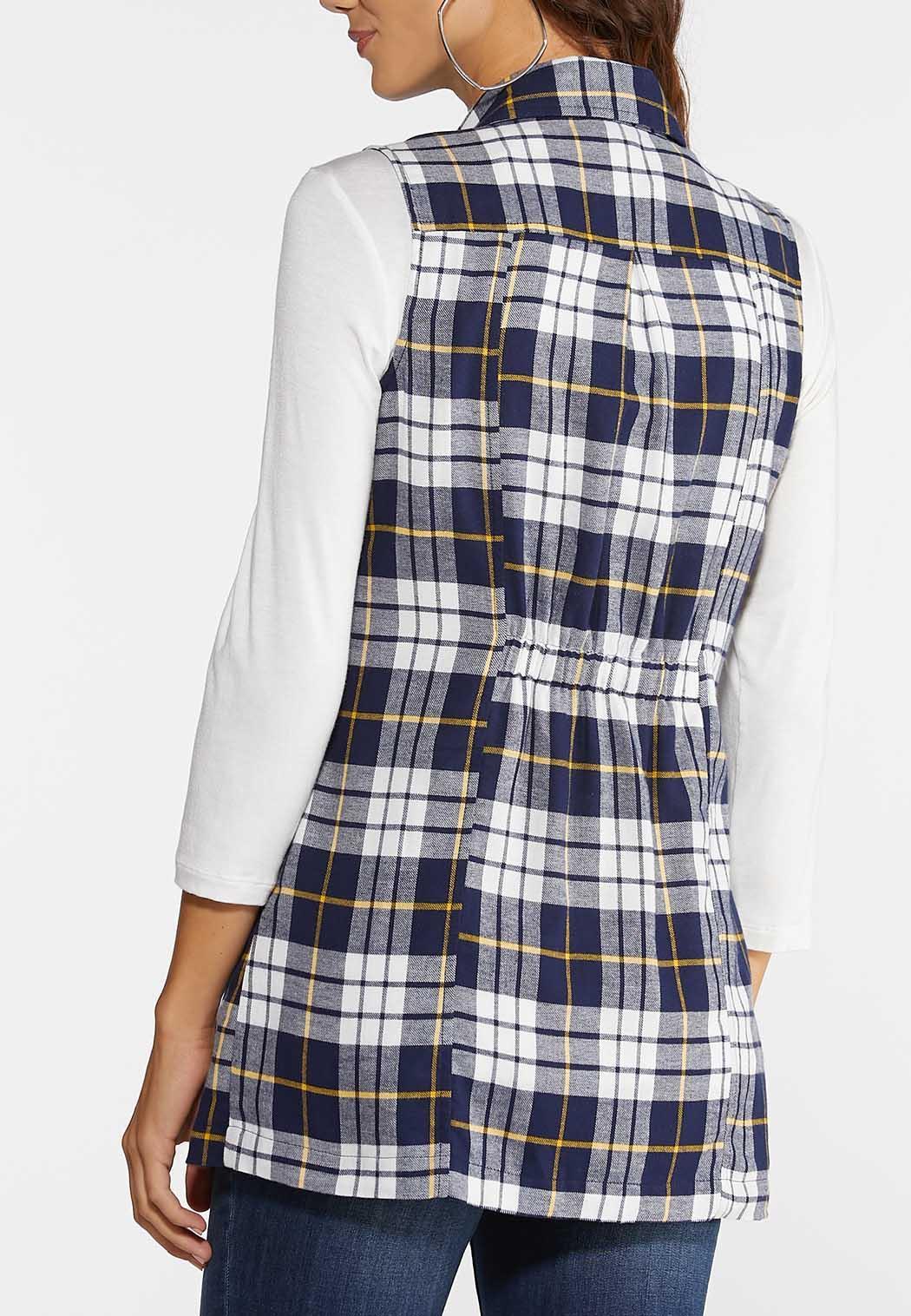Plus Size Navy Plaid Vest (Item #43958043)