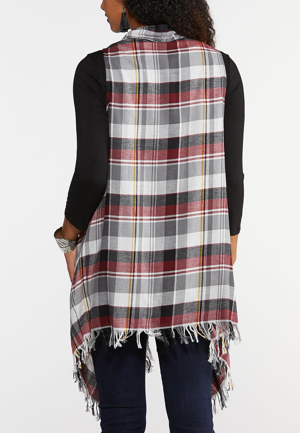 Plus Size Red Plaid Vest (Item #43958134)
