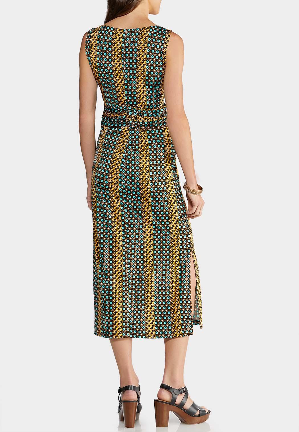 Plus Size Geo Tie Waist Dress (Item #43958519)