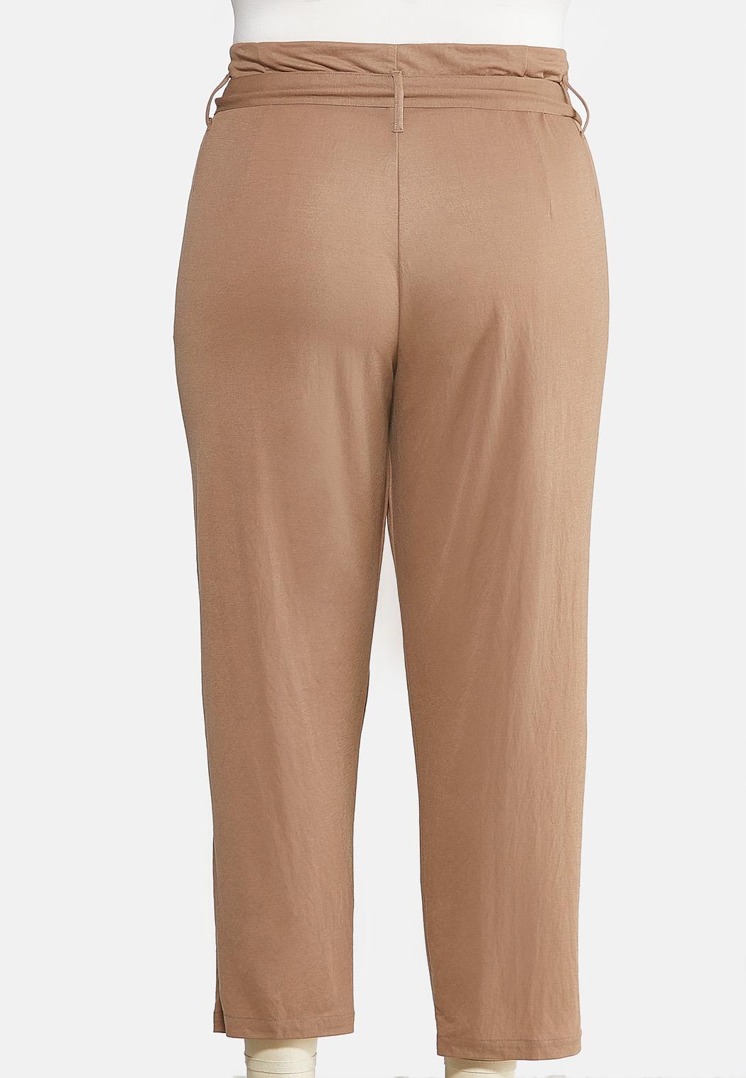 Plus Size Tie Waist Paperbag Pants (Item #43960479)