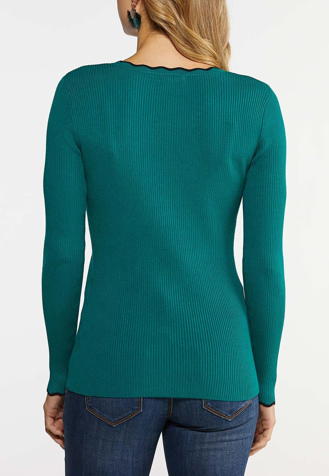 Plus Size Ribbed Scalloped Trim Sweater (Item #43960973)