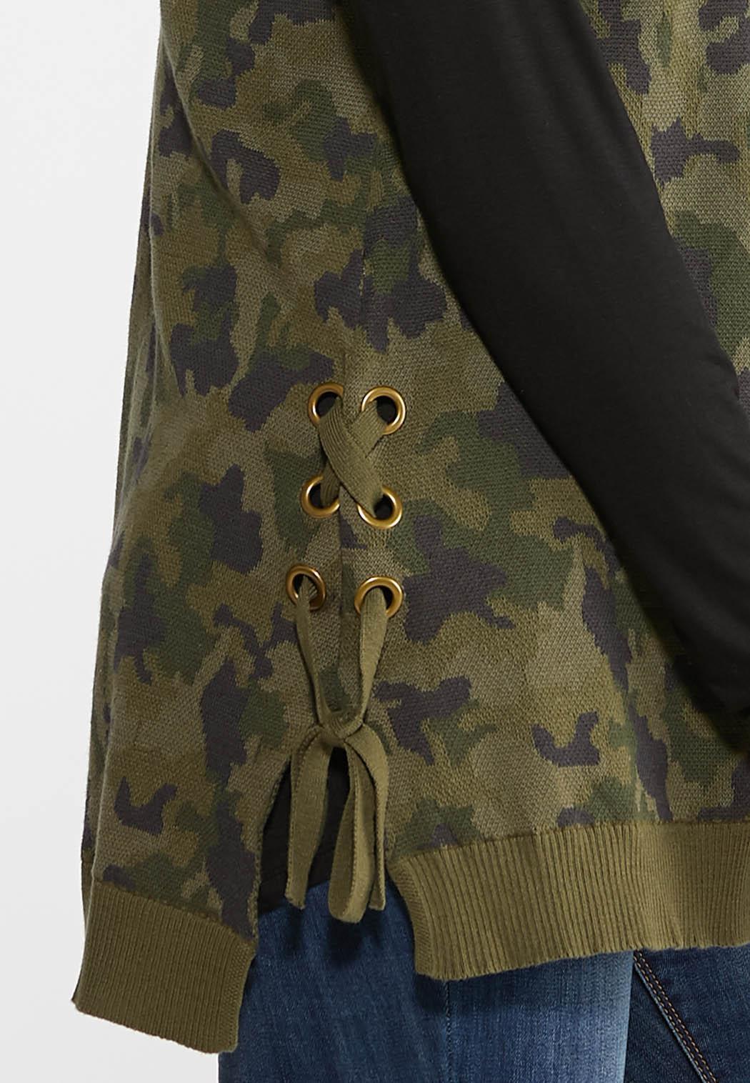 Plus Size Camo Knit Vest (Item #43961504)