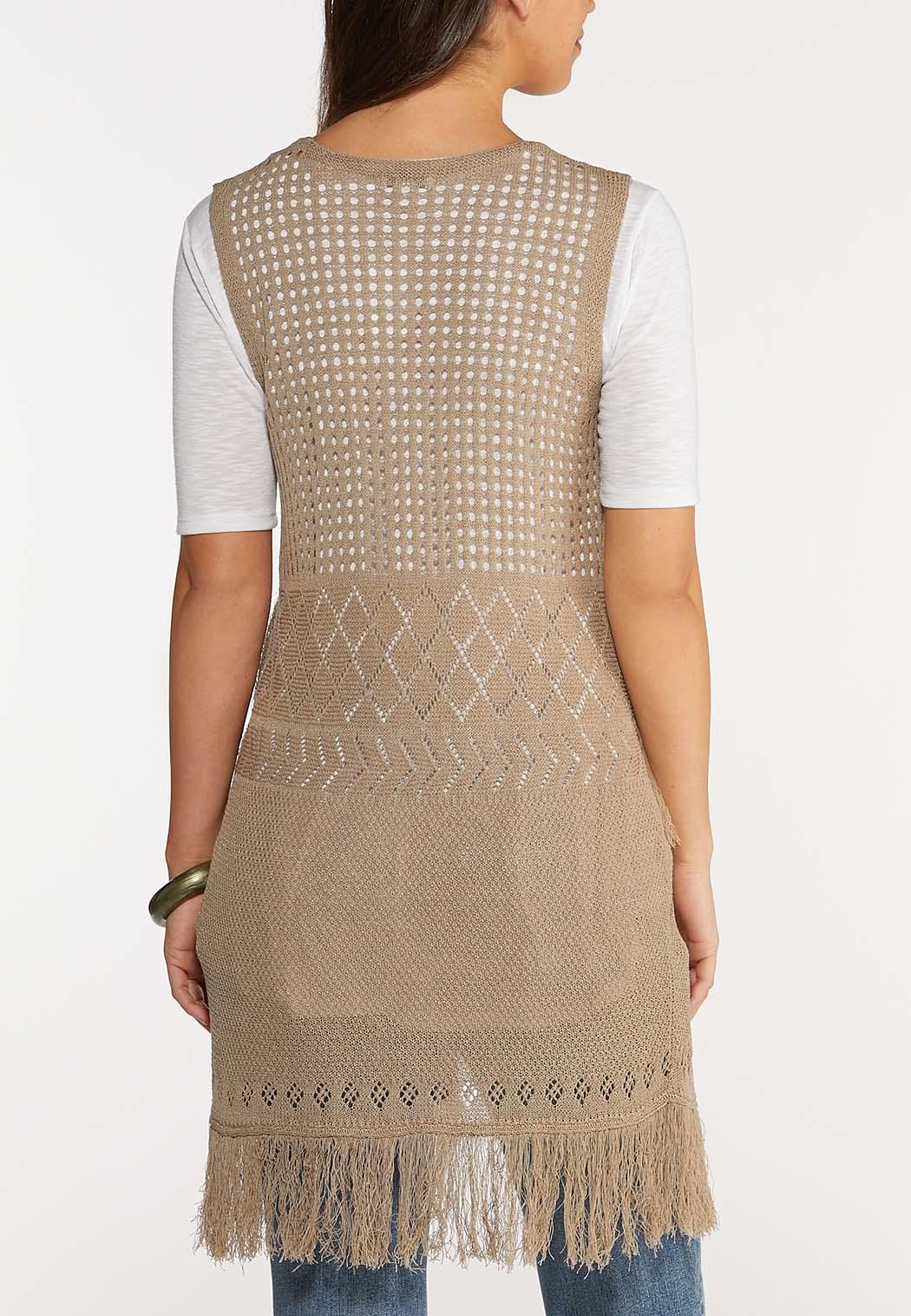 Plus Size Fringe Crochet Vest (Item #43961598)