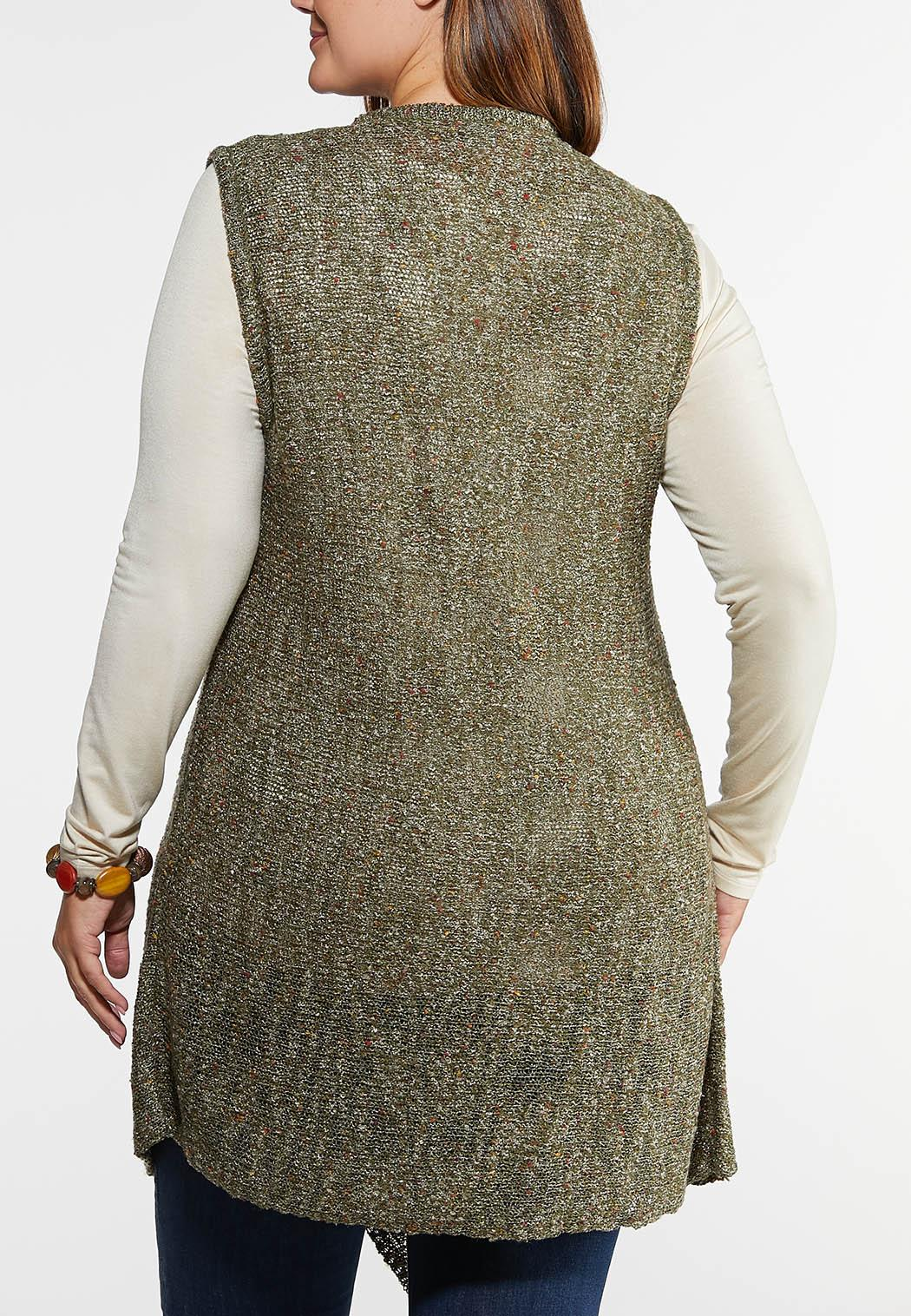 Plus Size Speckled Waterfall Cardigan (Item #43961762)