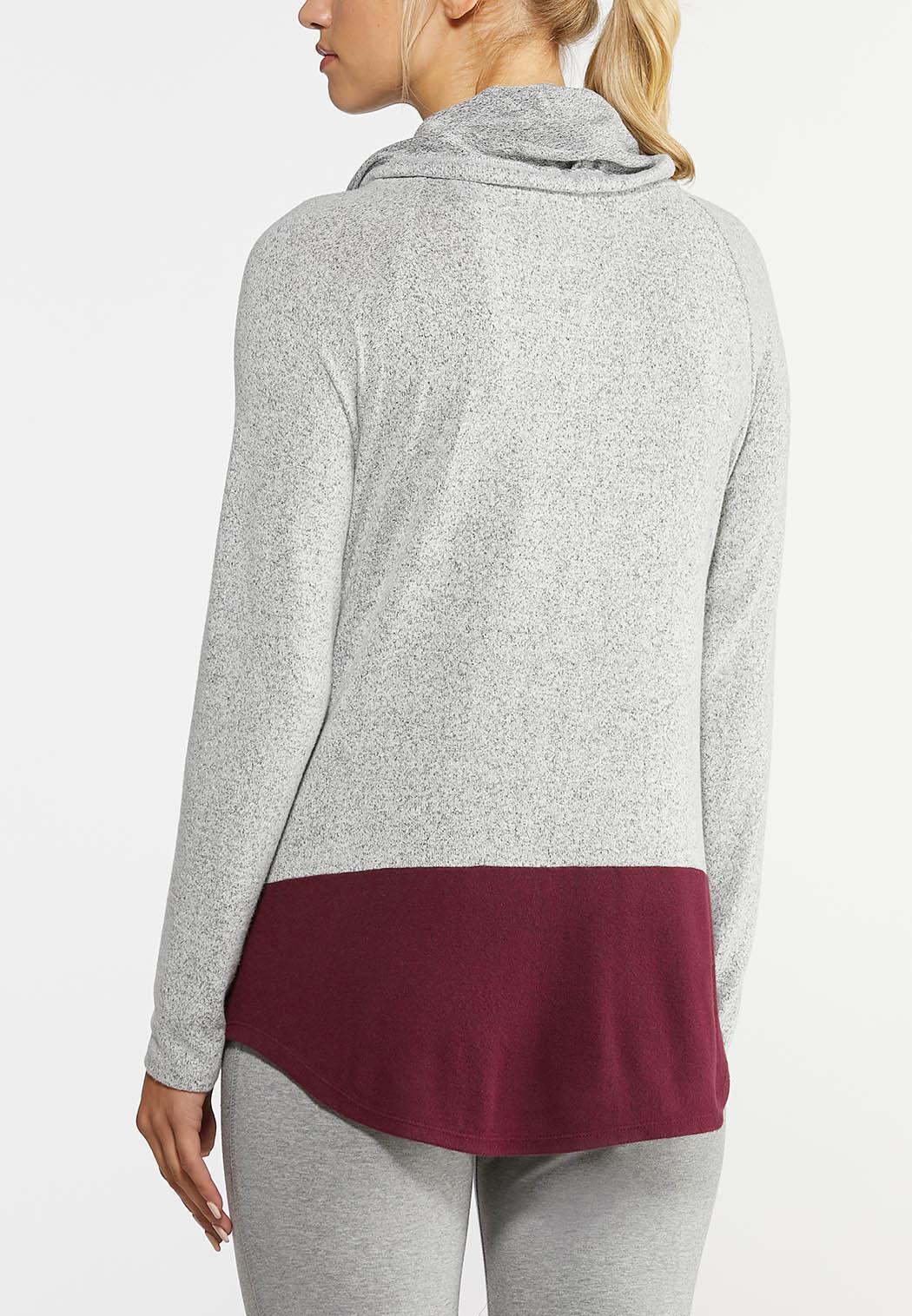 Plus Size Colorblock Hoodie Top (Item #43964625)
