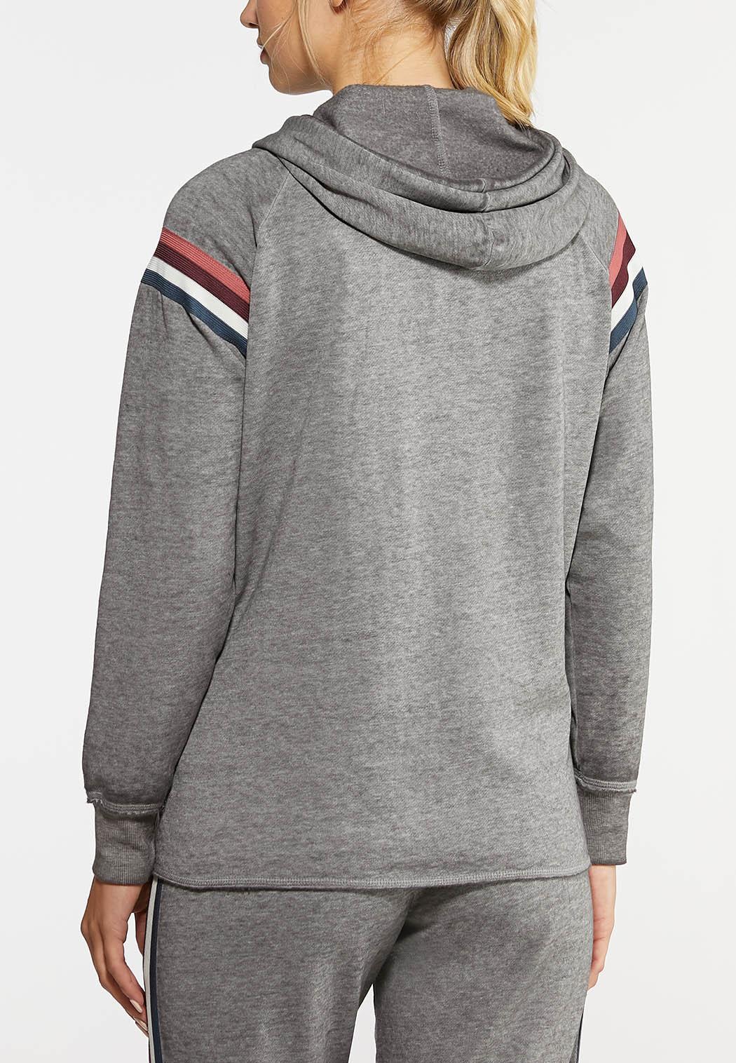 Plus Size Striped Fleece Hoodie (Item #43964684)