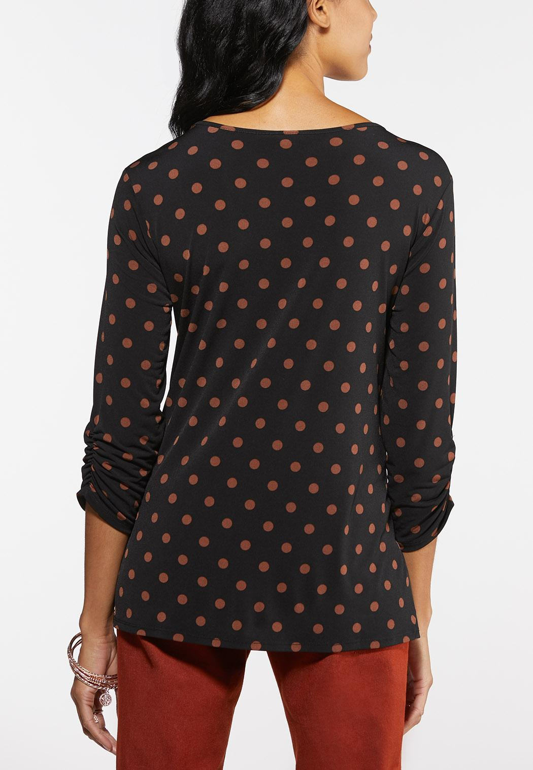 Plus Size Dotted Buckle Cinched Top (Item #43964697)