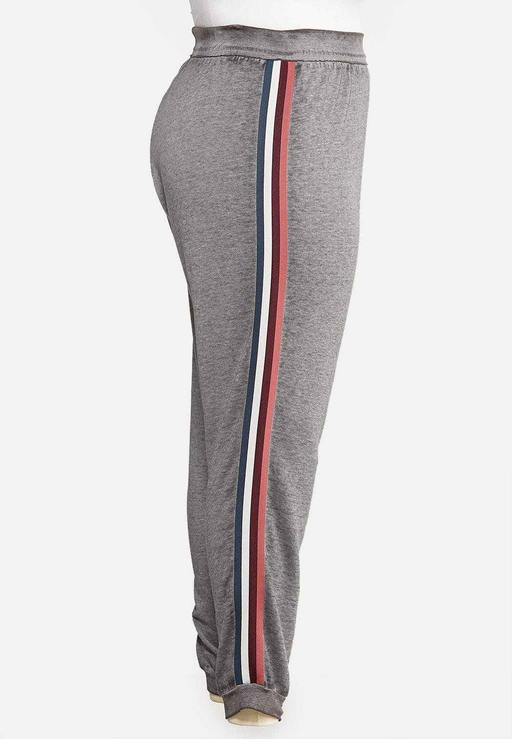 Plus Size Striped Fleece Joggers (Item #43964707)