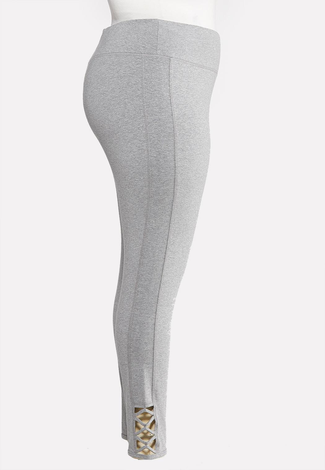 Plus Size Lattice Hem Leggings (Item #43964730)