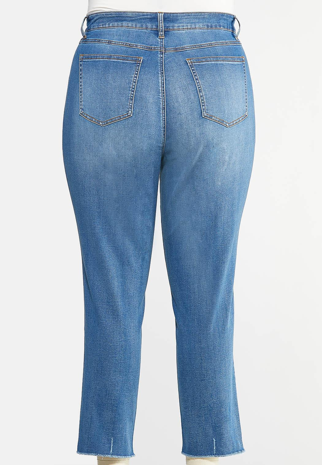 Plus Size Buttonfly Raw Hem Jeans (Item #43966401)