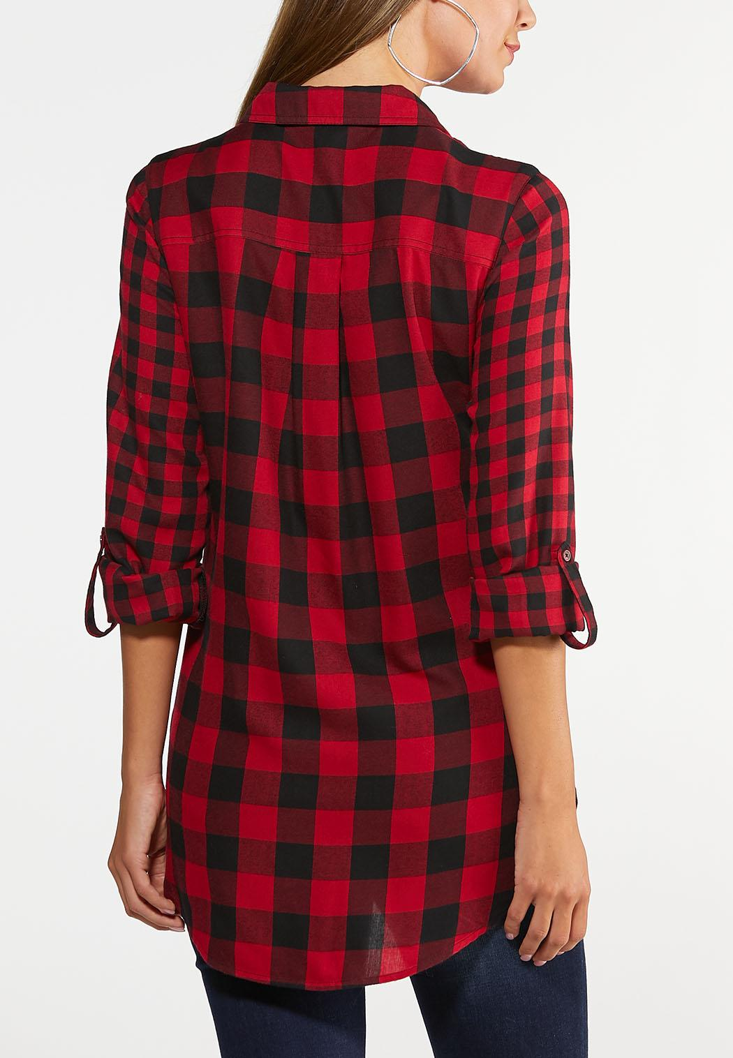 Plus Size Red Buffalo Plaid Top (Item #43966872)
