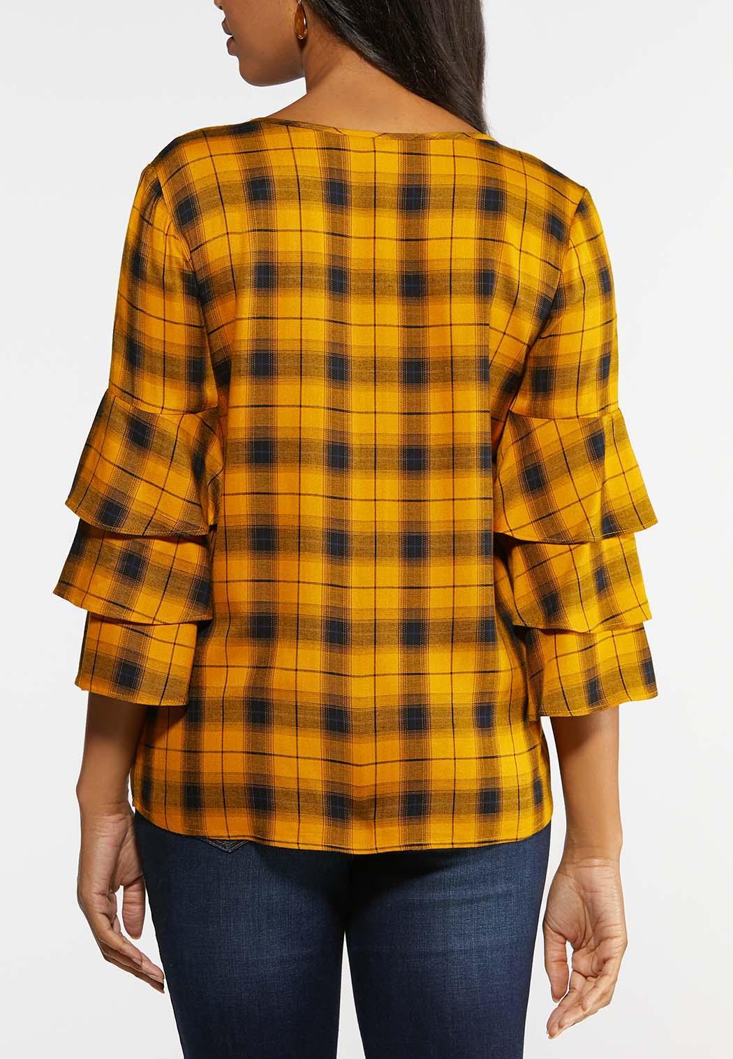Plus Size Gold Plaid Ruffled Sleeve Shirt (Item #43967283)