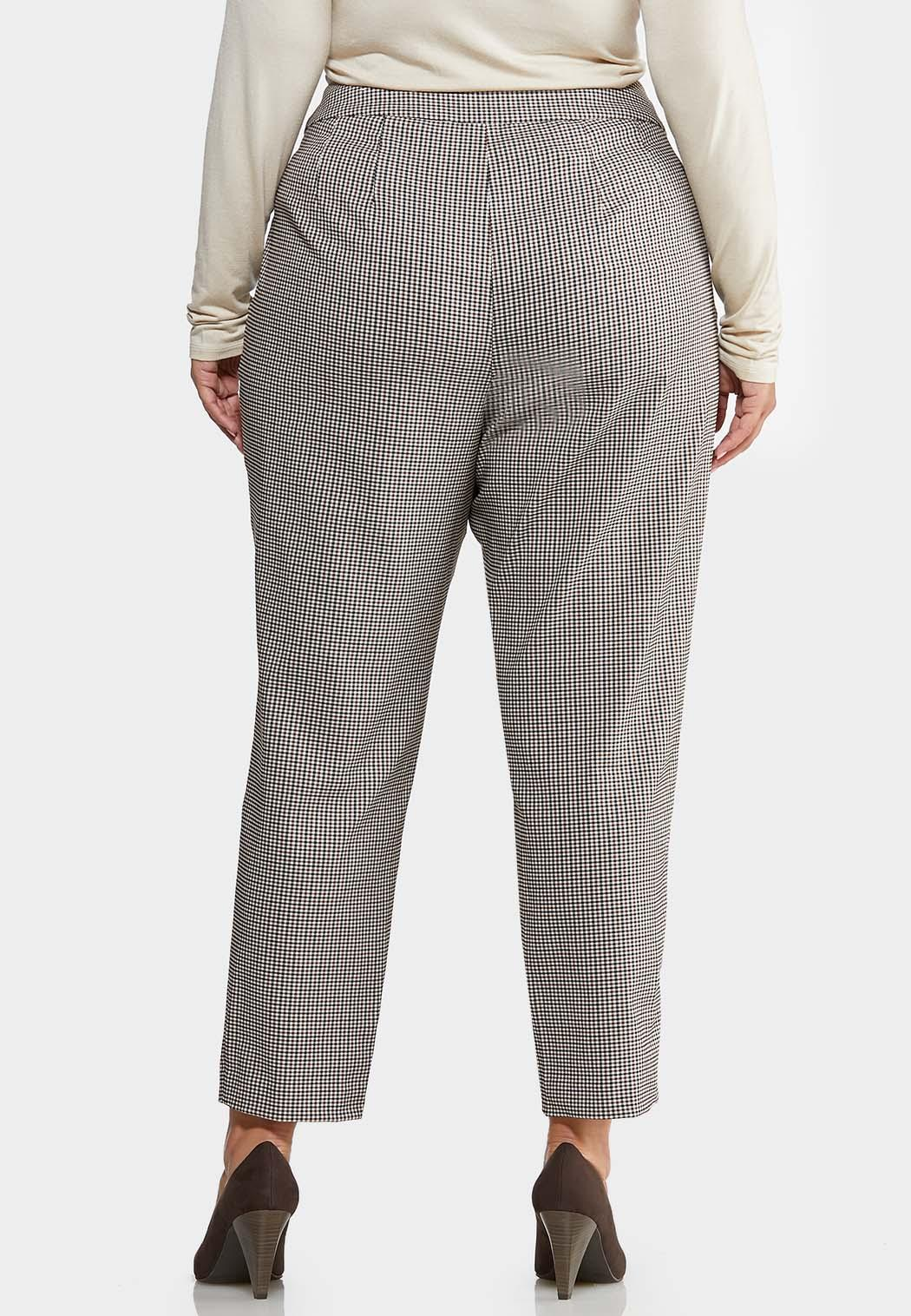 Plus Size Slim Checkered Ankle Pants (Item #43968022)