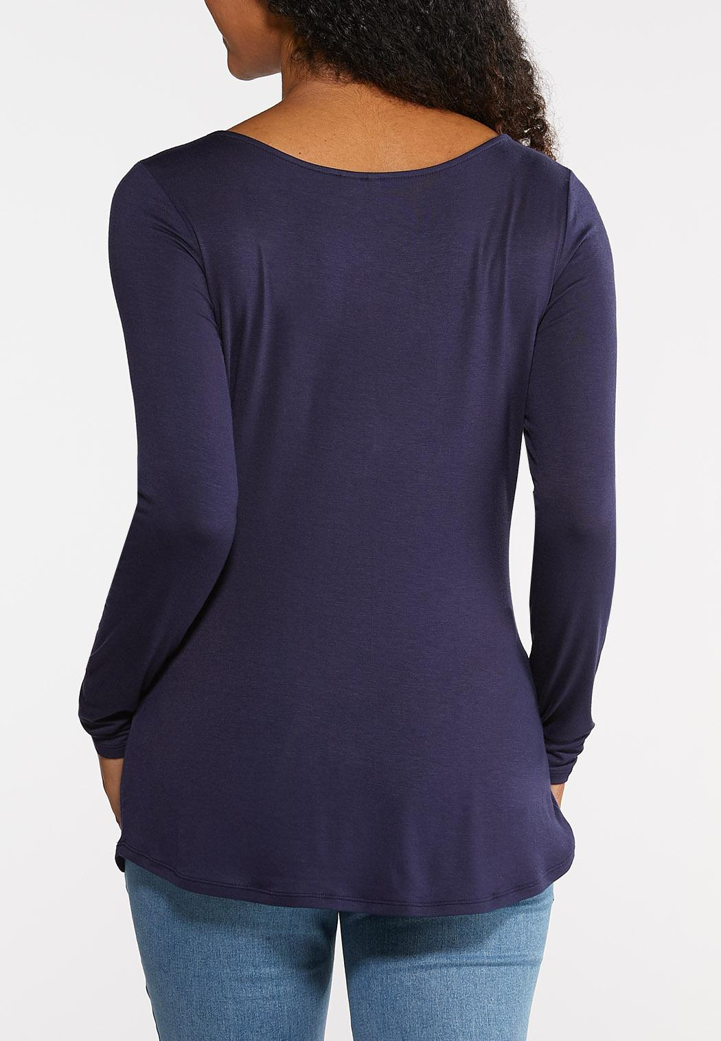 Plus Size Solid Long Sleeve Tee (Item #43968322)