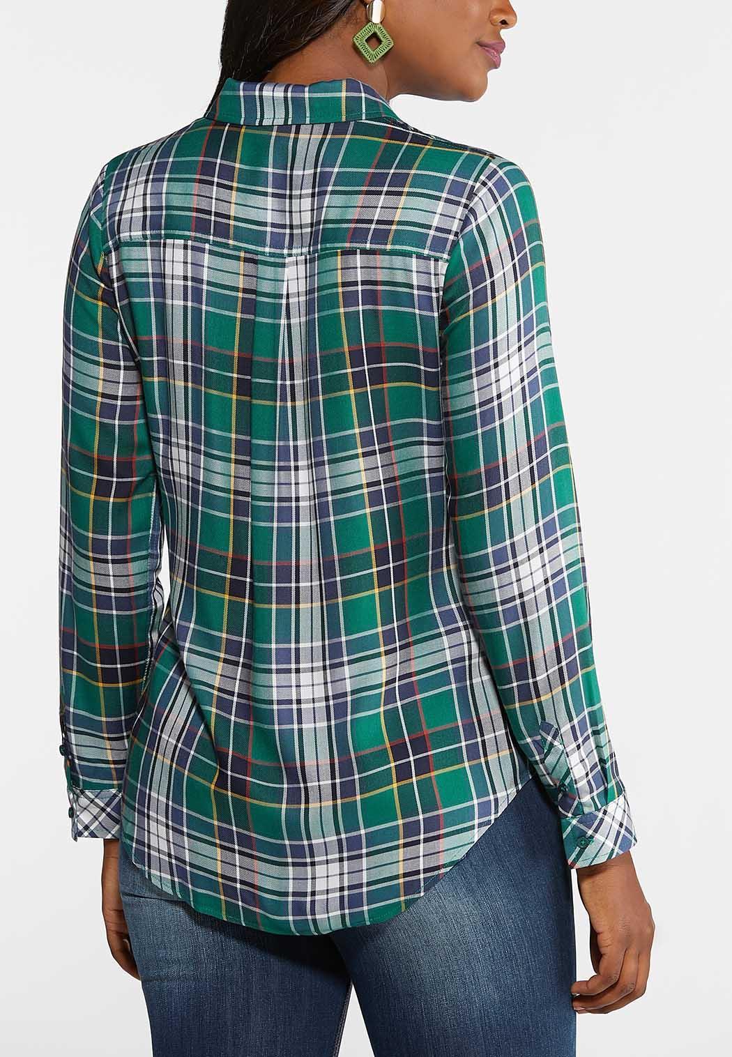 Plus Size Green Plaid Button Down Top (Item #43968511)