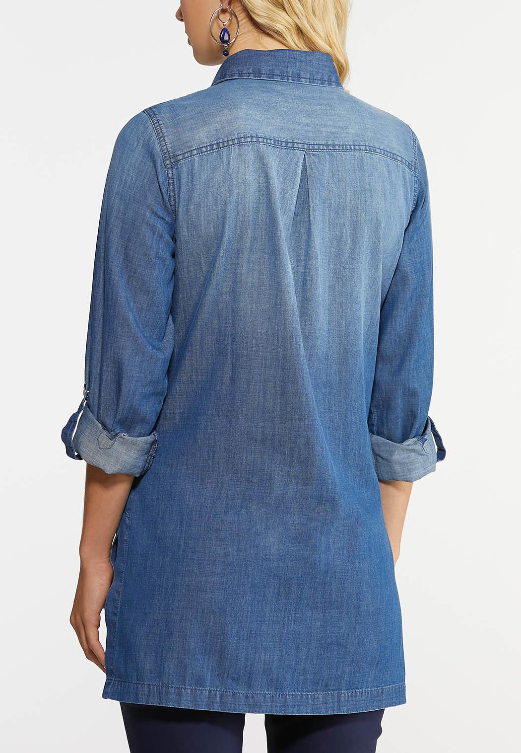 Plus Size Chambray Tunic Top (Item #43968570)