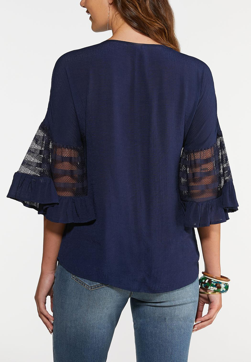 Plus Size Mesh Sleeve Pullover Top (Item #43969084)