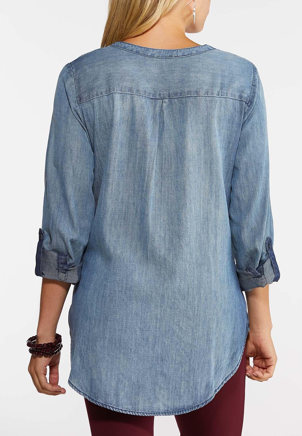 Plus Size Denim Equipment Shirt (Item #43969209)