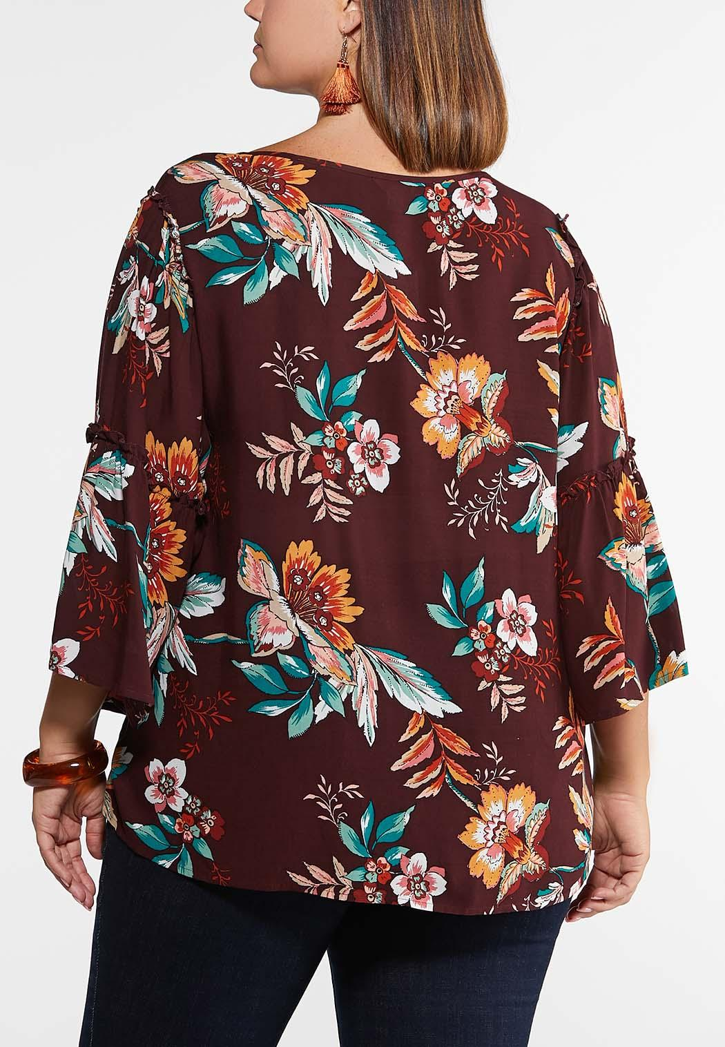 Plus Size Ruffle Sleeve Floral Poet Top (Item #43969243)
