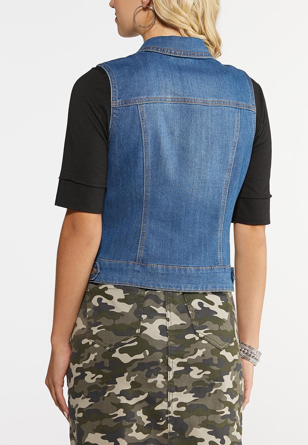 Studded Denim Vest (Item #43969667)
