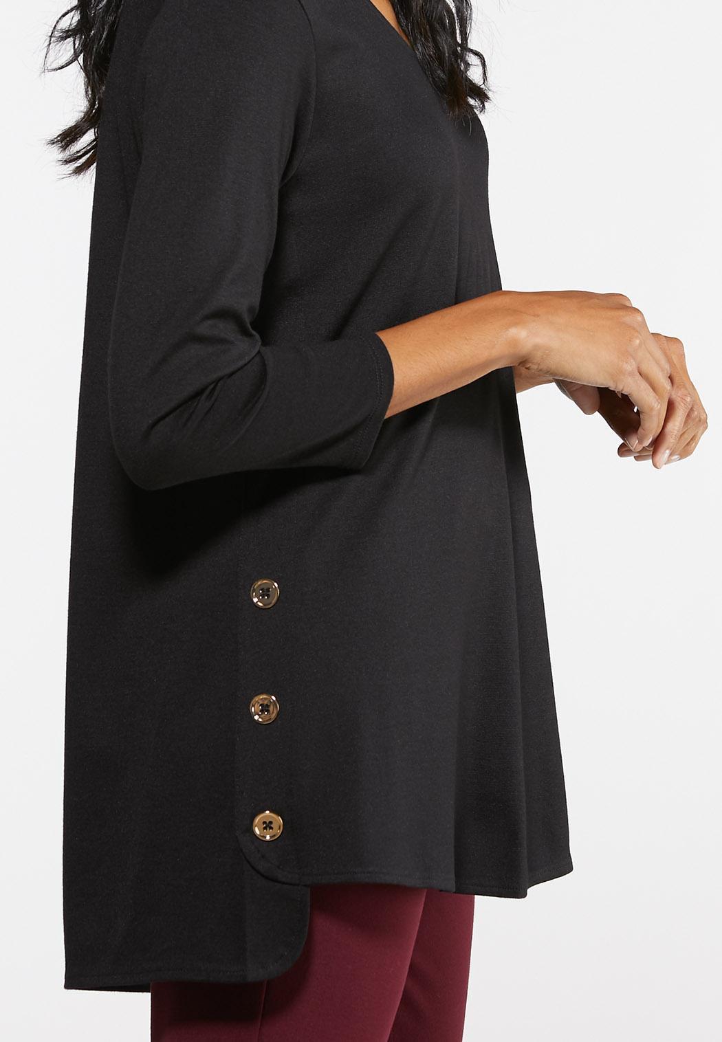 Plus Size Side Button Ponte Top (Item #43974468)