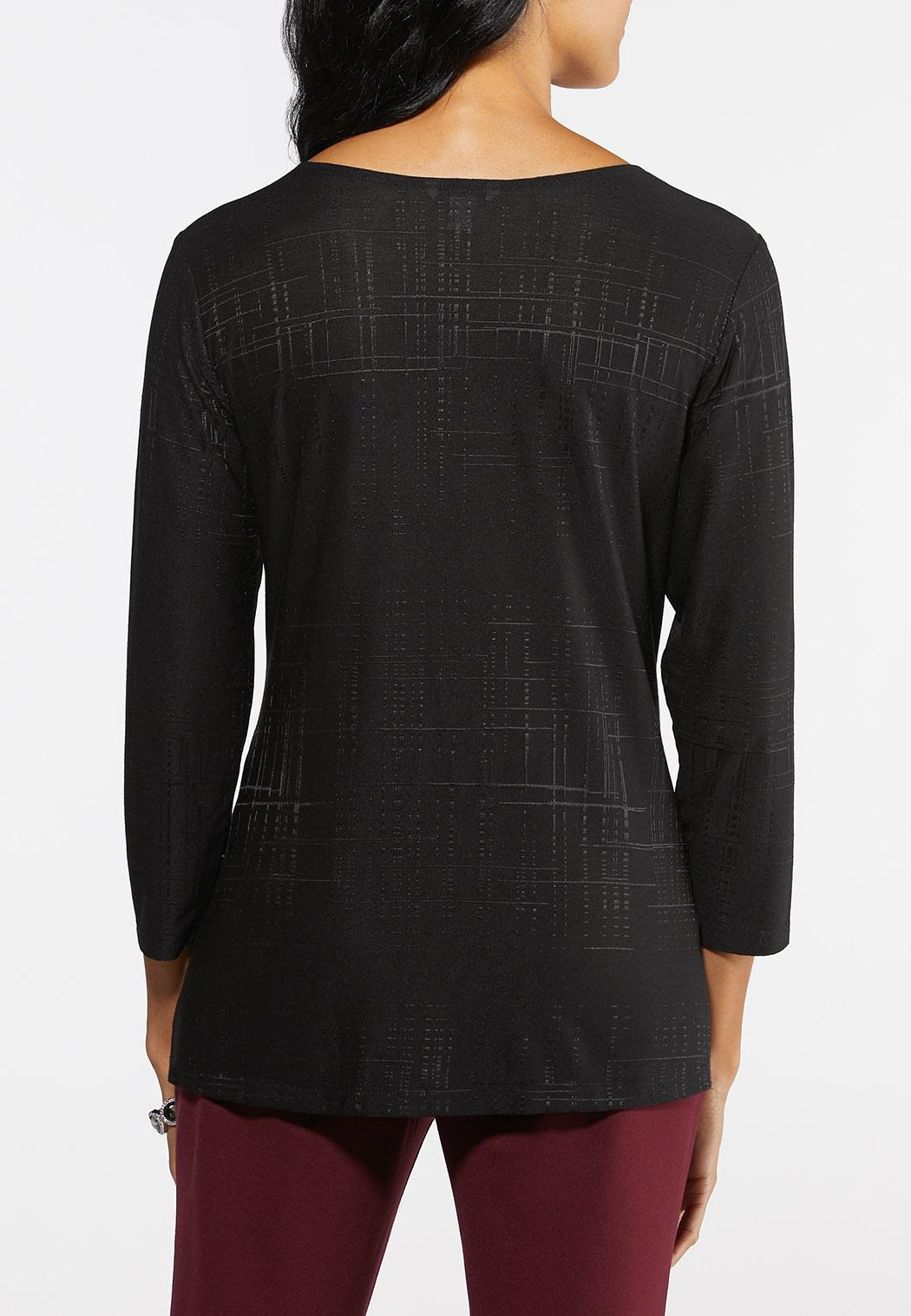 Plus Size Textured Asymmetrical Top (Item #43974504)