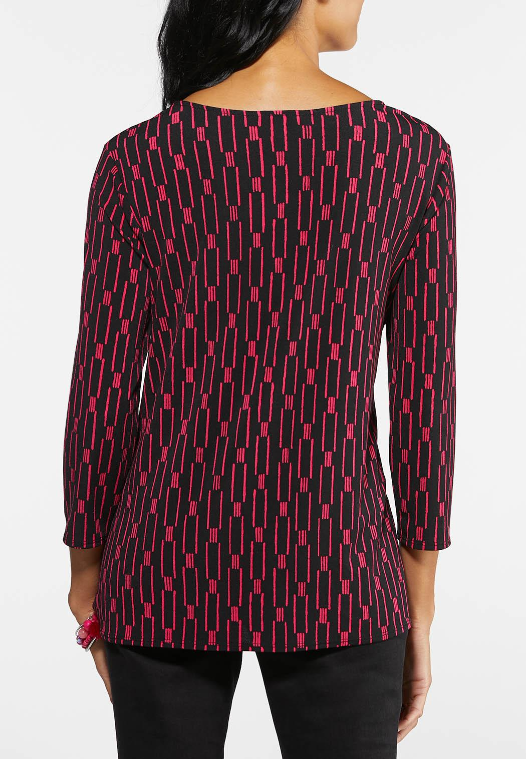 Plus Size Pink Print Tie Top (Item #43974515)