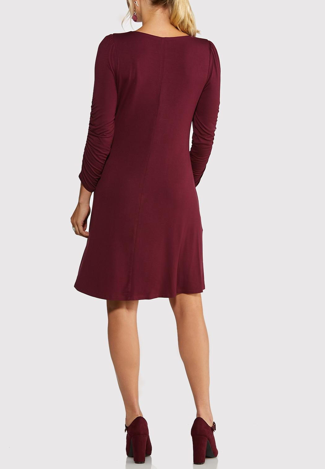 Plus Size Ruched Sleeve Swing Dress (Item #43979055)