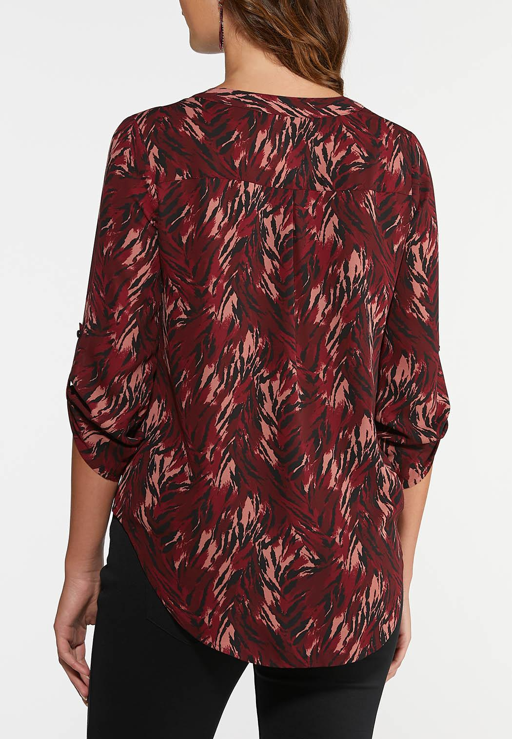 Plus Size Cranberry Zebra Print Top (Item #43980721)