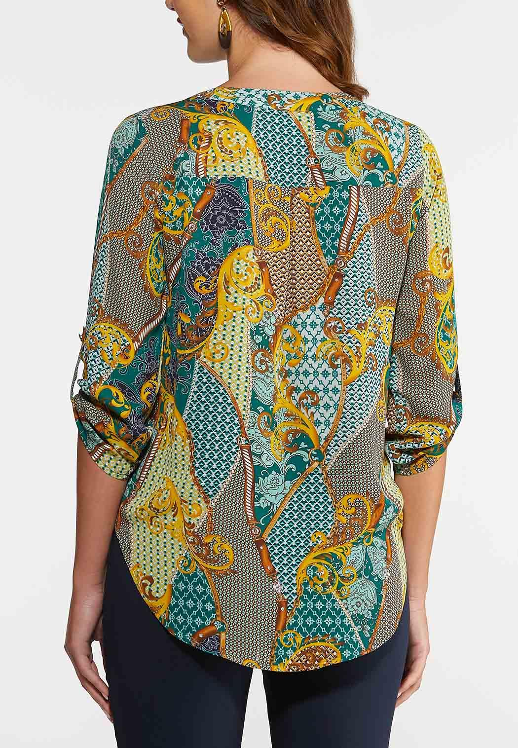 Plus Size Jeweled Green Paisley Top (Item #43980734)